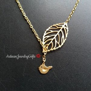Matte Gold Bird Skeleton Leaf Lariat Necklace